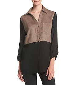August Silk® Faux Suede Colorblock Tunic