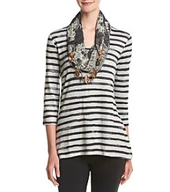 Oneworld® Stripe Top With Scarf