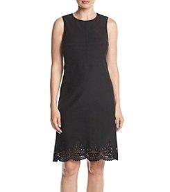 Jones New York® Faux Suede Laser Cut Dress