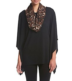 AGB® Solid Poncho With Animal Print Scarf