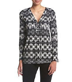 Relativity® Printed Lace Up Top
