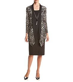 R&M Richards® Sheer Knit Panel Jacket Dress