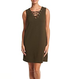 AGB® Solid Lace Up Shift Dress