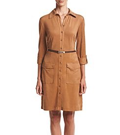 Madison Leigh® Roll Tab Sleeve Belted Shirtdress