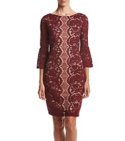 Gabby Skye® Bell Sleeve Lace Shift Dress