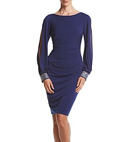 Jessica Howard® Long Sleeve Beaded Cuff Sheath Dress