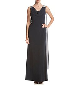 Jessica Howard® Beaded Shoulder Drape Neck Long Sheath Dress