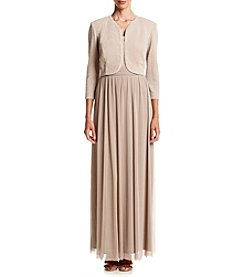 R&M Richards® Metallic Knit Jacket Long Dress