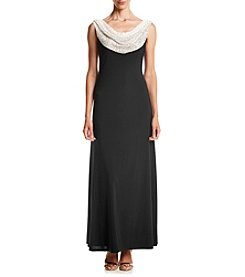 R&M Richards® Two Tone Beaded Cowl Neck Long Dress