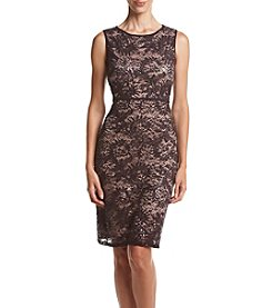 NW Collections Sequin Lace Open Back Dress