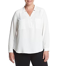 Nine West® Plus Size Solid Two Pocket Blouse