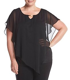 AGB® Plus Size Asymmetrical Overlay Top