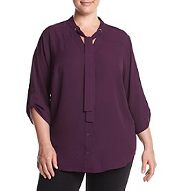 AGB® Plus Size Tie Neck Top
