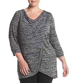 AGB® Plus Size Space Dye Wrap Front Top