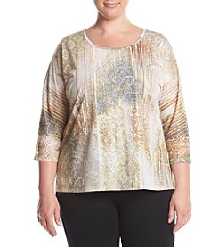Laura Ashley® Plus Size Jeweled Printed Lace Top