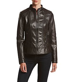 GUESS Scuba Faux Leather Snake Texture Coat