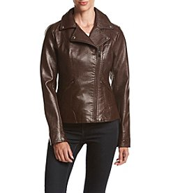 GUESS Faux Leather Snake Texture Moto Coat