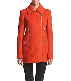 GUESS Asymmetrical Zip Boucle Coat