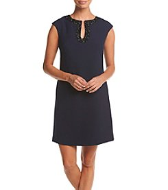 Vince Camuto® Embellished Shift Crepe Dress