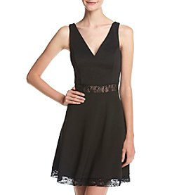 GUESS Lace Cutouts Fit And Flare Dress