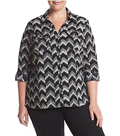 Studio Works Plus Size Chevron Print Top