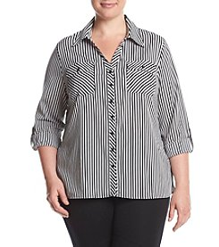 Studio Works® Plus Size Stripe Roll Sleeve Top