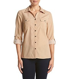 Studio Works® Petites' Dot Print Utility Shirt