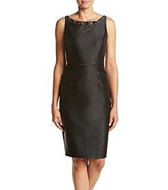 Adrianna Papell® Embellished Neck Solid Color Sheath Dress
