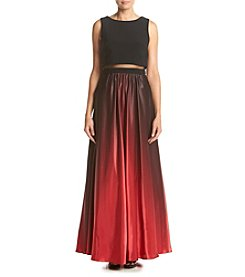 Betsy & Adam® Long Cocktail Popover Ombre Skirt Dress