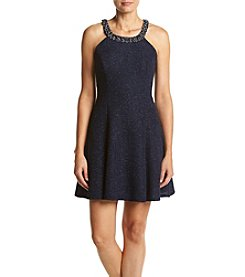 Betsy & Adam® Beaded Glitter Neck Dress