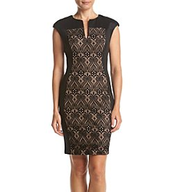 Connected® Petites' Lace Insert Panel Split V-Neck Dress