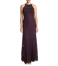NW Collections Petites' Halter Illusion Beaded Neckline Long Dress