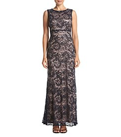 NW Collections Petites' Sequin Lace Open Back Long Dress