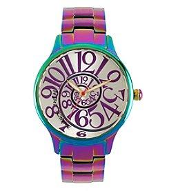 Betsey Johnson® Women's Rainbow Oil Slick Case & Bracelet Watch