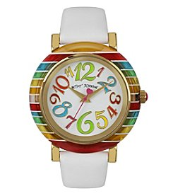 Betsey Johnson® Women's Goldtone Rainbow Bezel & White Patent Leather Strap Watch