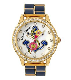 Betsey Johnson® Women's Goldtone Anchor Motif Dial Watch