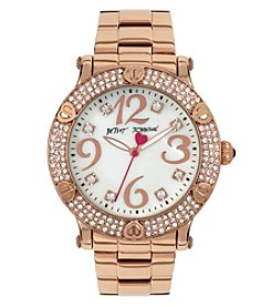 Betsey Johnson® Women's Crystal & Heart Accent Bezel Rose Goldtone Watch
