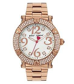 Betsey Johnson® Women's Crystal & Heart Accent Bezel Rose Goldtone Watch
