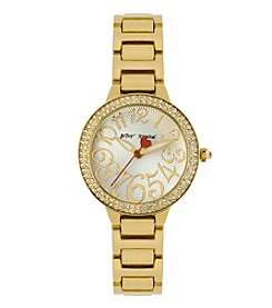 Betsey Johnson® Women's Goldtone Crystal Set Case & Bracelet Watch