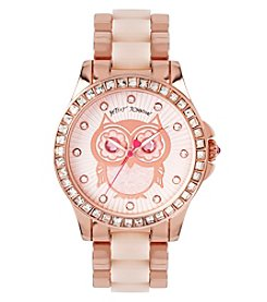 Betsey Johnson® Women's Rose Goldtone Owl Motif Dial Watch