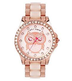 Betsey Johnson® Women's Rose Goldtone Owl Motif Dial Watch
