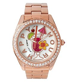 Betsey Johnson® Women's Happy Hour Motif Dial Rose Goldtone Watch