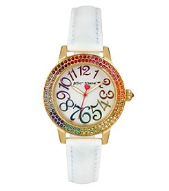Betsey Johnson® Women's White Crocodile Embossed Strap Goldtone Watch