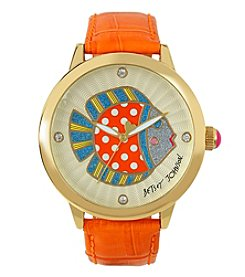 Betsey Johnson® Women's Goldtone Polka Dot Fish Motif Dial & Orange Leather Strap Watch