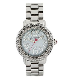Betsey Johnson® Women's Silvertone Crystal Set Case Watch