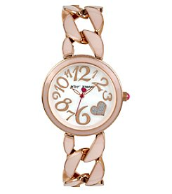 Betsey Johnson® Women's Rose Goldtone Blush Link Bracelet Watch