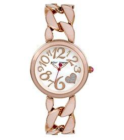 Betsey Johnson® Women's Rose Goldtone Blush Link Bracelet Watch