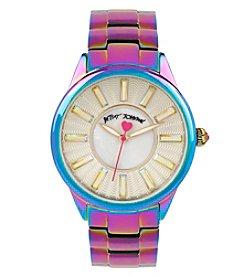 Betsey Johnson® Women's Rainbow Oil Slick Stainless Steel Case & Bracelet Watch