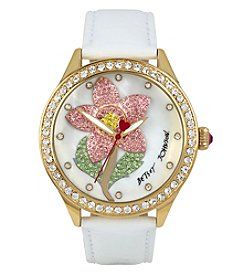 Betsey Johnson® Women's Goldtone Pave Flower Motif Dial Watch