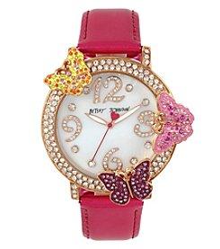 Betsey Johnson® Women's Goldtone Butterfly Dial Watch
